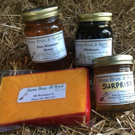 A sampler of delicious NC Mountain honey, hoop cheese, molasses and a SURPRISE gift.